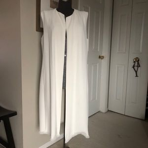 Bone cloud white Lafayette 148 vest with belt NWT